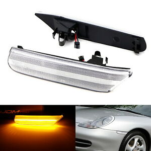 Clear Amber LED Sequential Side Marker Lights For Porsche Carrera 911 Boxster