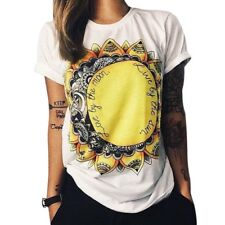 CHIC ROUND COLLAR SHORT SLEEVE PRINTED COTTON BLEND T-SHIRT