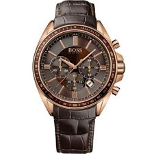 NEW HUGO BOSS HB1513093 DRIVER BROWN LEATHER GENUINE MEN'S WATCH CHRONOGRAPH