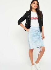 NEW MISS SELFRIDGE 10 pale blue velvet ruche tight party skirt knee length