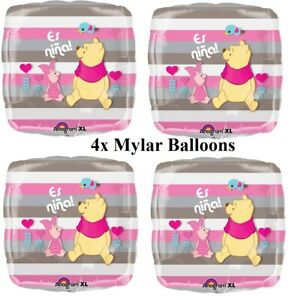"4 x 18"" Winnie The pooh & Piglet Happy Birthday Foil Mylar Balloon Decoration"