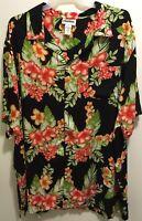 EUC King Size Tropical Hibiscus Floral Hawaiian Aloha Camp Shirt Men's Big 4XL