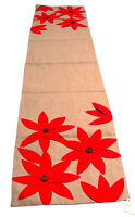 Airabella Collection Holiday Red Floral Design Table Runner 16x72in by Saro