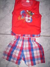 """Cooles Sommer-Set, """"Mickey""""-Shirt + kurze Karo-Hose, neuw. Gr.74"""