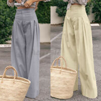 Size Womens Ladies High Waist Palazzo Trousers Casual Wide Leg Baggy Flare Pants