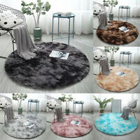 Round Nordic Area Rug Colorful Gradient Rug For Living Room Bedroom Plush Carpet