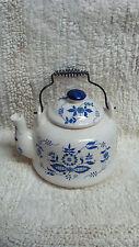 Vintage CERAMIC  Blue Onion pattern tea pot with metal bail handle