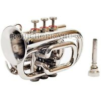 SILVER Bb POCKET TRUMPET WITH FREE CASE AND MOUTHPIECE BEST GIFTS SCX CJ4421