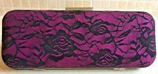 GHD Purple + Black Lace Box Clutch Bag Hard Case Evening Handbag