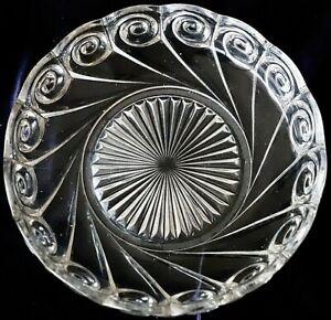 Vintage pressed glass bowl  scalloped edge swirl and star burst design 23 cm