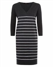Jaeger Striped Knitted Merino Wool Jumper Dress Charcoal Grey S 8 10 NWT £175
