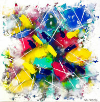 COCON DE PEINTRE Toile Abstraite Originale Sophie Queuniez, cotée Akoun/Artprice