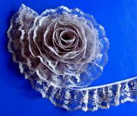 SOFT GRAY~3 Inch Wide Ruffled Floral Lace Trim~By 5 Yards