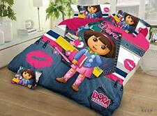 Queen Size Bed Sheet Dora The Explorer Disney Cartoon Print Kids Bedding Set 3Pc