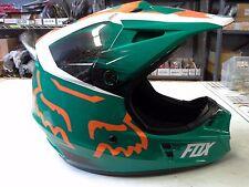 Fox V1 green, white & orange helmet