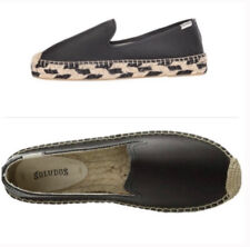 Soludos Women's 'Smoking' Espadrille Platform Shoe Size 9 Black Leather