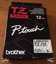 Brother TZ-131 P-Touch 12mm TZ Tape Cassette - Black on Clear - Laminated