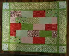 Handmade Patchwork Baby Calico Quilt Red Green Unisex Blanket Lovey Vtg Look
