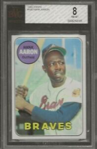 1969 Topps Hank Aaron #100 Atlanta Braves BVG 8 NM-MT