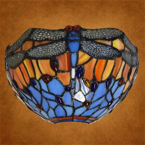NICE Dragonfly Tiffany Style Wall Lamp Antique Lamps Handcrafted Stained Glass