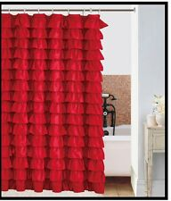 waterfall RED Ruffled Shower Curtain