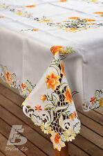 Oblong Table Cloth, Embroidered Orange Daffodils, 150x225cm (60x90in) FFDWY52