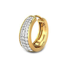 For Men 14K Yellow Gold Plated Silver 0.34 Ct Sim Diamond Huggie Hoop Earring