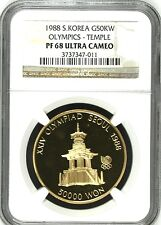 South Korea 1988 Gold Coin 50K Won Olympics Pul Guk Temple Olympiad NGC PF68