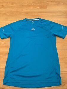 Medium Mens Adidas Running T-Shirt Top in Bright Blue Football Gym / 99p start !