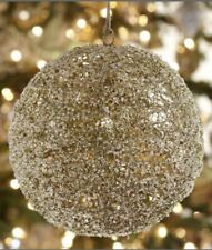 "Pottery Barn Oversize 10"" Gold Glitter Ball Ornament Holiday Wire Beaded Sparkly"