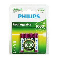 4PK Philips 1000mAh NiMH Rechargeable AAA Batteries  (8PK & 16PK also Available)