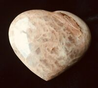 "Peach Moonstone Gemstone Heart, 4"", Polished Crystal, Natural Color"
