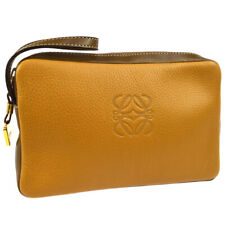LOEWE Logos Clutch Hand Bag Pouch Purse Brown Leather Authentic AK42263