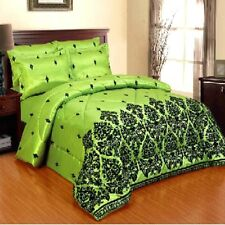 CLEARANCE SALE LUXUARY 5PC DAMASK FLOCK DUVET BED SET WITH RUNNER&CUSHION COVER