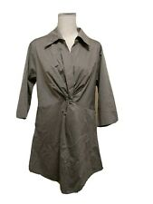 Maternal America 3/4 Sleeve Maternity Dress Size XL Grey Plunging Neckline