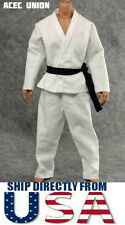 "1/6 Scale Judo Gi White Uniform Kung Fu Suit For 12"" Male Figure - U.S.A. SELLER"
