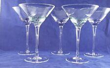 Set of 5 Cobalt Blue or Green Swirl Martini Cosmopolitan Glasses - Barware