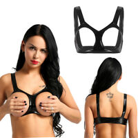 Sexy Womens Wet Look Latex Bra Top Nipples Open Cup Bralette Lingerie Underwear