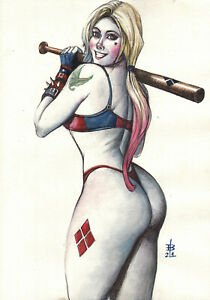 HARLEY QUINN SEXY WATERCOLOR PINUP ART ORIGINAL COMIC PAGE BY EDERSON