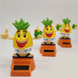 FJ- Solar Power Cartoon Swinging Pineapple Car Interior Ornament Decor Toy Prett