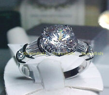 925 STERLING SILVER 2.25 CT SOLITAIRE BAGUETTE ACCENTS ENGAGEMENT RING SIZE 6