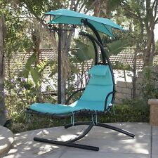 Hanging Chaise Lounger Chair Porch Patio Swing Hammock Canopy Camping Turquoise