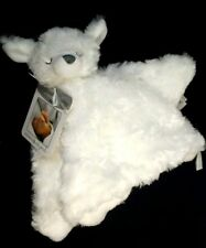 Christening Nunu Security Blanket Lamb White Furry Silver Cross in Oval  New