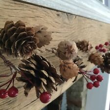 1.1m Natural Pine Cone Red Holly Berries Garland Christmas Mantel Decoration