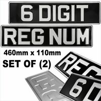 2x 6 Digit 460x110 mm Black and Silver Metal Pressed Number Plates Car Classic