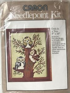 """1977 Caron Owls in a Tree #4589 Needlepoint Craft Kit 8"""" x 10"""" Made in USA"""