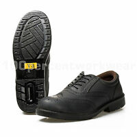 VA Mens Black Brogue Leather Work Safety Shoes Steel Toe Cap Mid Sole S1P SRC