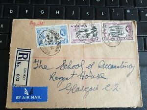 """Nigeria 1956 QEII Registered """"Air Mail""""  from Gboko to Glasgow."""