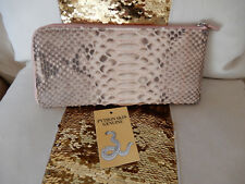 NWT Gorgeous Genuine Snake Skin PYTHON 3/4 ZIP WALLET CLUTCH Pink & Gray
