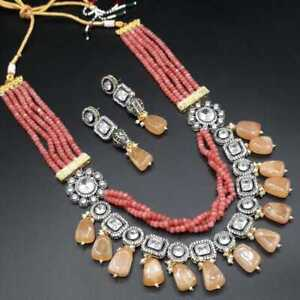 CZ Bollywood Bridal Kundan Long Necklace Earrings Pearl Sets Gold Plated Jewelry